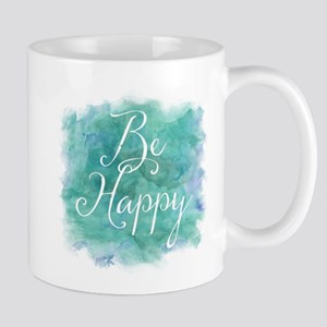 Be Happy Watercolor Inspirational Quote Mugs