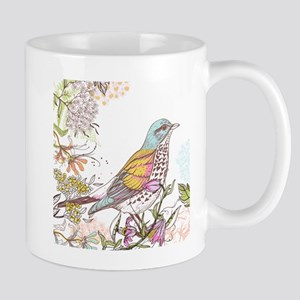 Leaves birds background set Mugs