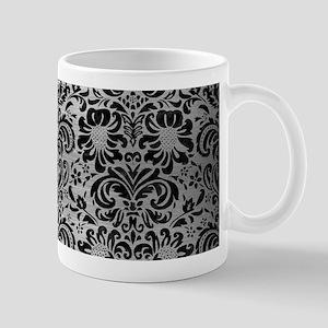 DAMASK2 BLACK MARBLE & SILVER BR 11 oz Ceramic Mug