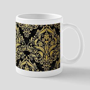 DAMASK1 BLACK MARBLE & GOLD BRUS 11 oz Ceramic Mug