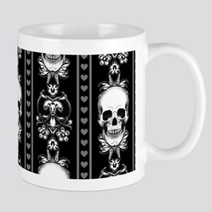 Baroque Skull Stripe Pattern Black Mug