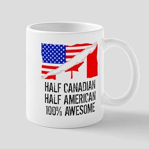 Half Canadian Half American Awesome Mugs