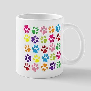 Multiple Rainbow Paw Print Design Mugs