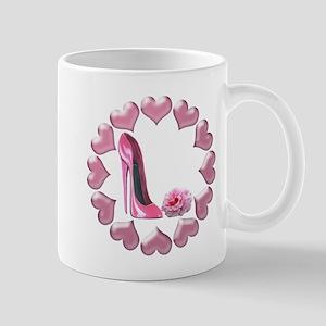 Pink High Heel Stiletto, Rose and Hearts Mug
