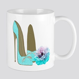 Turquoise Lace Stilettos and Rose Art Mugs
