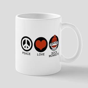 Peace Love Sock Monkeys Mug
