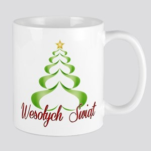 Wesolych Swiat Ribbon Tree Mugs