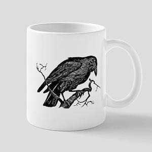 Vintage Raven in Tree Illustration Mug