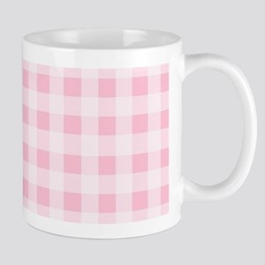 Pink Gingham Checkered Pattern Mugs