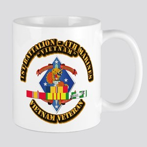 1st Bn - 4th Marines w VN SVC Ribbon Mug
