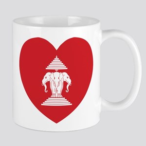 Laotian Erawan 3 Headed Elephant Heart Flag Mugs