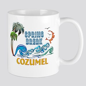3D Palms Waves Sunset Spring Break COZUMEL Mugs