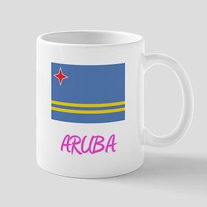 Aruba Flag Artistic Pink Design Mugs