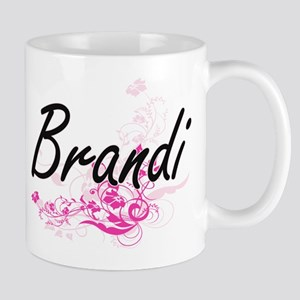 Brandi Artistic Name Design with Flowers Mugs