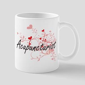Acupuncturist Artistic Job Design with Hearts Mugs