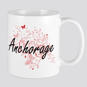 Anchorage Alaska City Artistic design with bu Mugs