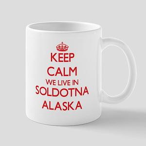 Keep calm we live in Soldotna Alaska Mugs