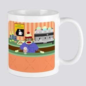 Sock Monkey Coffee Shop Barista Coffee Mug
