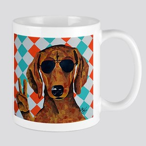 Dachshund Peace Sign Mugs
