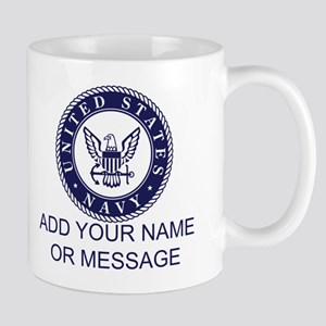 PERSONALIZED US Navy Blue White Mugs
