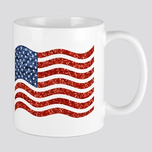 sequin american flag Mugs