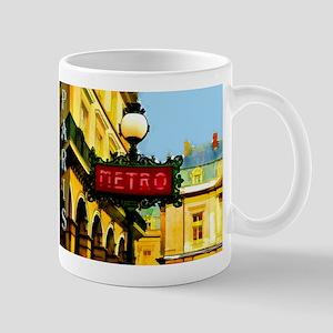 pARIS mETRO tRAVEL pOSTER Mugs