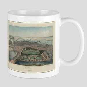 Vintage Pictorial Map of Boston MA (1850) Mugs