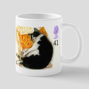 1995 Great Britain Sleeping Cat Postage Stamp Mugs