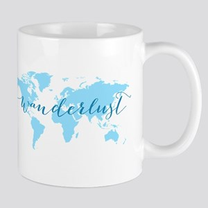 Wanderlust, blue world map Mugs