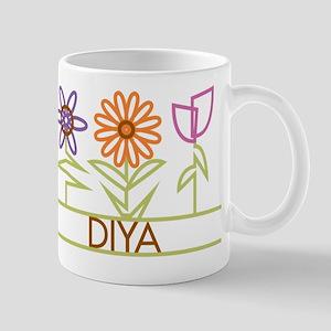 Diya with cute flowers Mug