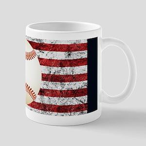 Baseball Ball On American Flag Mugs