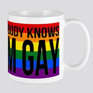 Nobody Knows I'm Gay Mugs
