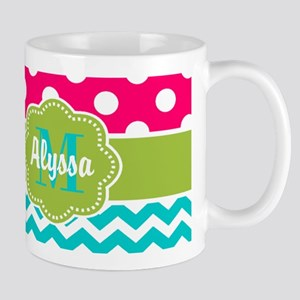 Pink Green Teal Chevron Personalized Mugs