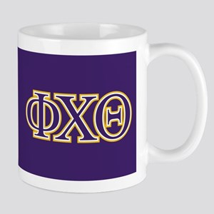 phi chi theta crest and letters Mug