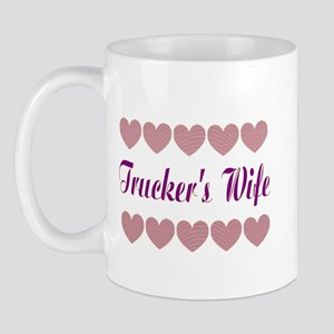 Truckers Wife With Hearts Mug