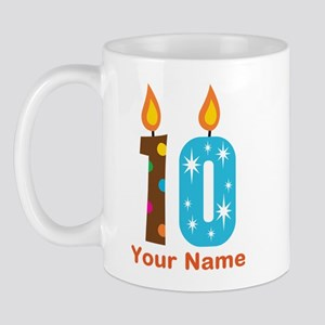 Custom 10th Birthday Candle Mug