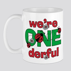 ONEderful Ladybug Twins Birthday 11 oz Ceramic Mug