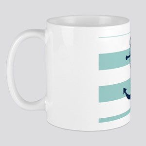 Blue Anchor on Mint Stripes Mug