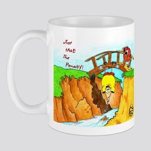 Golf-Hanging From Bridge Mug