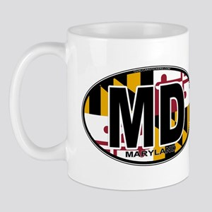 Maryland MD Oval (w/flag) Mug