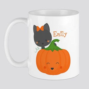 Kitty and Pumpkin Personalized Mug