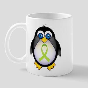 Penguin Lime Green Ribbon Awareness Mug