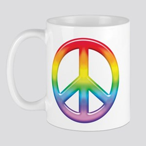 Gay Pride Rainbow Peace Symbol Mug
