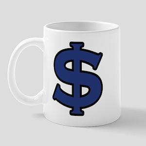 Dollar Sign Blue Black Mug