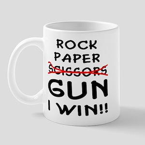 Rock Paper Scissors Gun I Win Mug