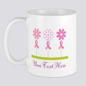 Pink Ribbon Personalized Breast Cancer Mug