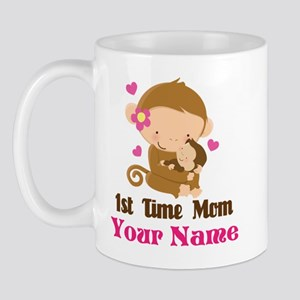 Personalized 1st Time Mom Monkey Mug