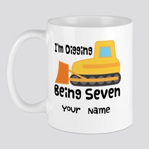 Personalized 7th Birthday Bulldozer Mug