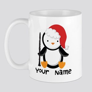 Personalized Christmas Clarinet Penguin Mugs