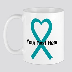 Personalized Teal Ribbon Heart Mug
